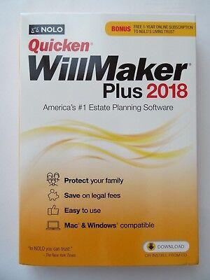 Nolo Quicken Willmaker Plus 2018   Living Trust New In The Box   Sealed