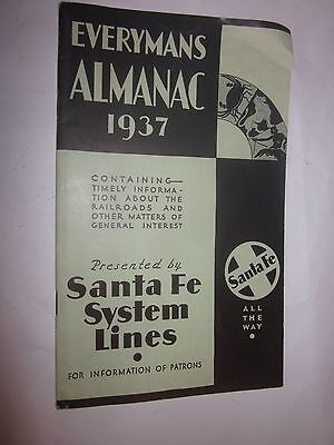 1937 Santa Fe System Lines Everymans Almanac Booklet For Information Of Patrons