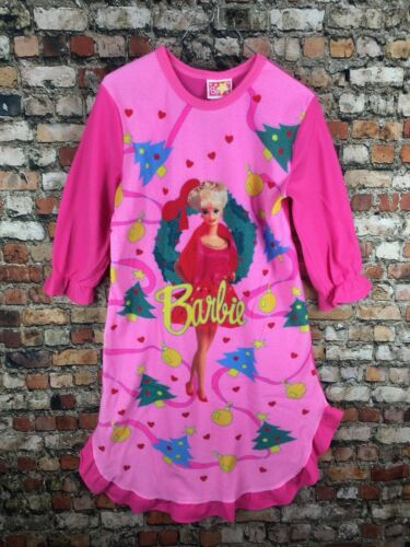 Vintage 90s 80s Barbie Girls Nightgown Pajamas Neon Pink Christmas Holiday 1991