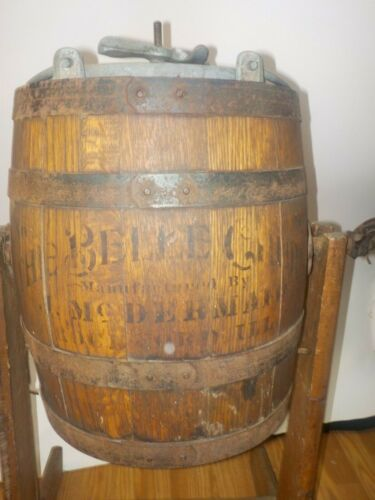 Antique Belle #0 Wood Barrel Primitive Butter Churn w/Stand McDermaid