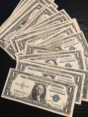 1935-1957 *LUCKY* $1 SILVER CERTIFICATE RARE BLUE ONE DOLLAR BILL LOT NOTE FRN*