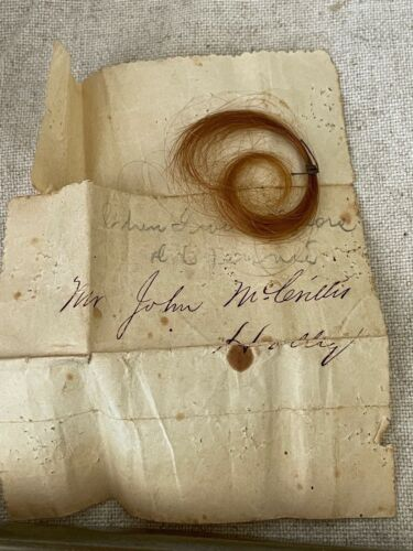 Lock of Hair w/ Paper Note Western New York Strawberry Blond