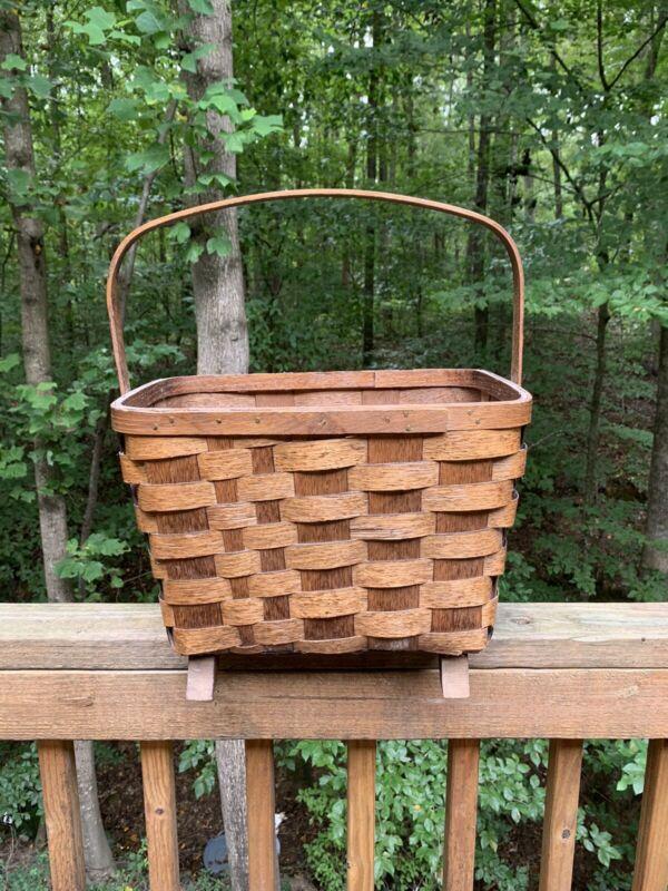 Vintage Large Footed Basketville Putney Vermont Wooden Footed Basket w/ Handle