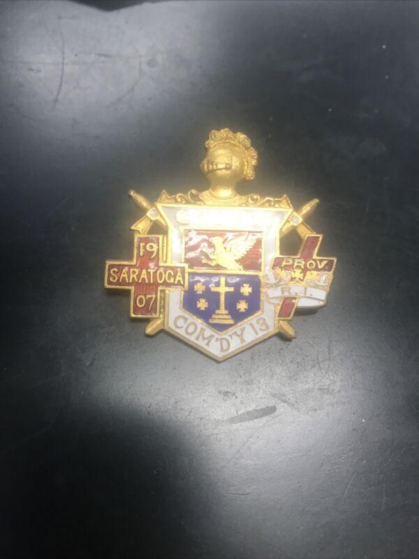 Knights templar calvary 1907 saratoga Providence Rhode island pin
