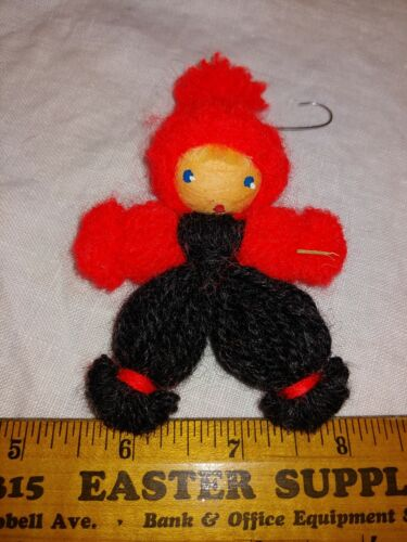 "4.25"" Tall Red Black Yarn Doll Girl Handmade Christmas Holiday Ornament Folk Art"