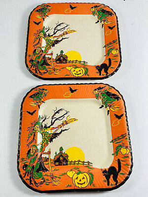 Pair (x2) Vintage Halloween Party PLates haunted house black cat