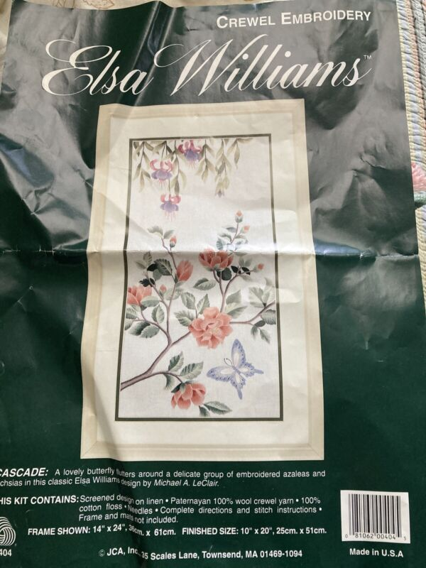 Elsa Williams Crewel Embroidery Kit Cascade Butterfly Flowers Fuschias Started