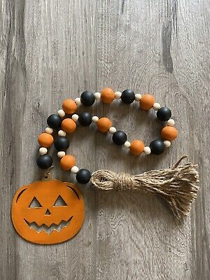 Handmade Wood Bead Garland with Tassel & Pumpkin Orange & Black Halloween Fall