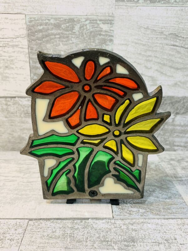 Vintage Stained Glass Cast Iron Tea Light Candle Holder Christmas Pointsetta NEW