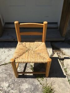 Small kids wooden wicker rush seat chair