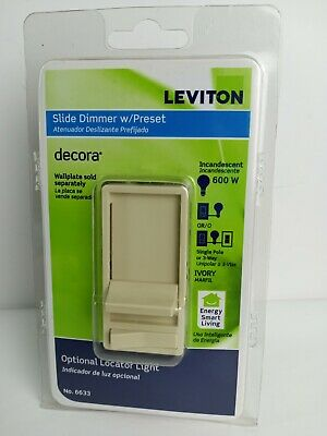 Leviton 6633 Ivory Decora Slide Dimmer w/ Preset Optional Locator Light Ivory Decora Slide