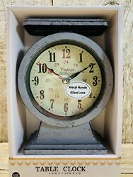 "Battery Operated Scale Table Clock- Gray- Antique Look- 7""+ Tall"