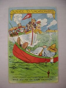 VINTAGE HUMOR POSTCARD ADVICE TO VACATIONISTS BOATS READY TO COLLIDE 1908 PCK