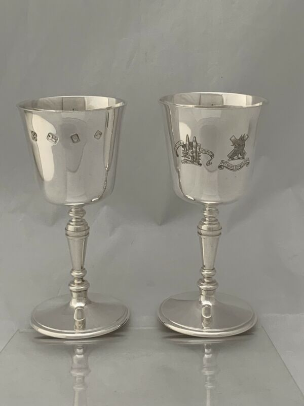 Pair ASPREY & CO Solid Silver GOBLETS WINE GLASS 1972 London CRESTED Sterling