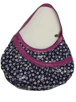 Vera Bradley Frill Boysenberry Floral Navy Hobo Handbag Shoulder Purse Tote