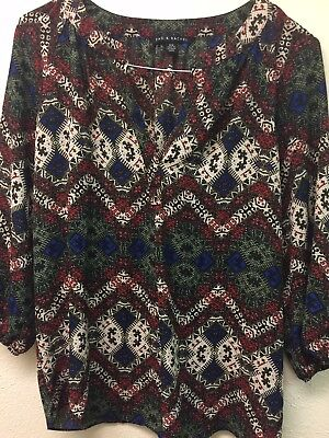 Womens Medium Zac & Rachel Blue Green Burgundy Print Long Sleeve Top Shirt for sale  Cypress