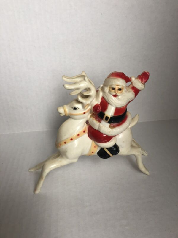Vintage Plastic Santa On White Reindeer. 2 Available.