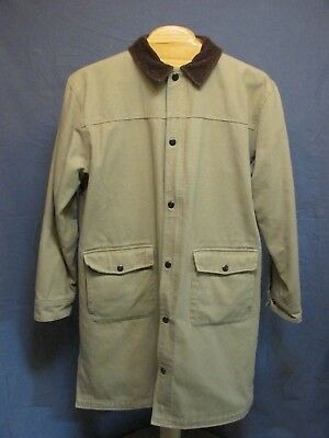 Duluth Trading CO Heavy Canvas Khaki Duck Cloth Chore Barn Long Coat Size L Tall (Duluth Trading Company Clothing)