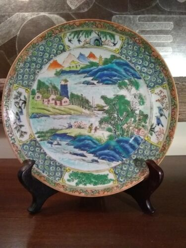 Antique Chinese Porcelain Plate Famille River Scenic