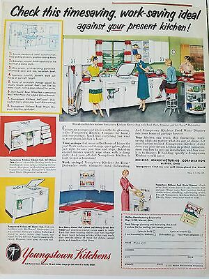 1952 retro red and white Youngstown Steel kitchens vintage ad
