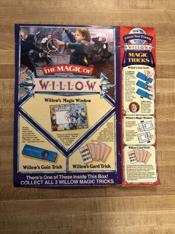 VTG Willow the Movie Quaker Oats Back and Side of Cereal Box 1988