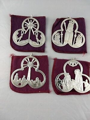 1972-75 Lunt Trefoil Series Sterling Silver Christmas Ornaments, Excellent w/bag ()