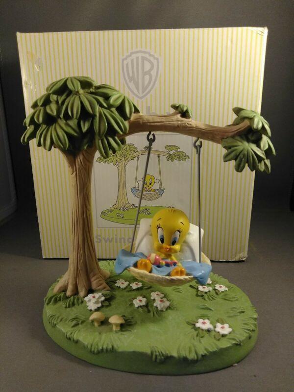 RARE  Vintage Baby Looney Tunes Baby TWEETY on a swing Statue Figurine