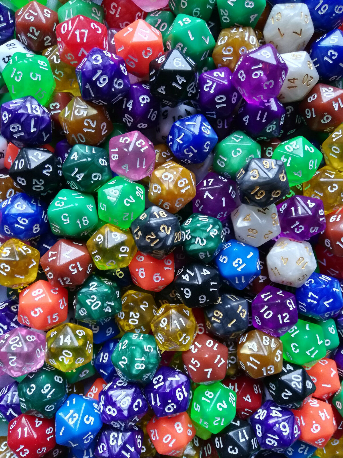 5 Spiele Würfel 20-Seitig W20 D20 Lebenspunktezähler Dice Farben MTG Magic, TCG