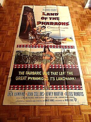 JACK HAWKINS, JOAN COLLINS, DEWEY MARTIN LAND OF THE PHARAOHS 55 WB THREE SHEET for sale  Shipping to India