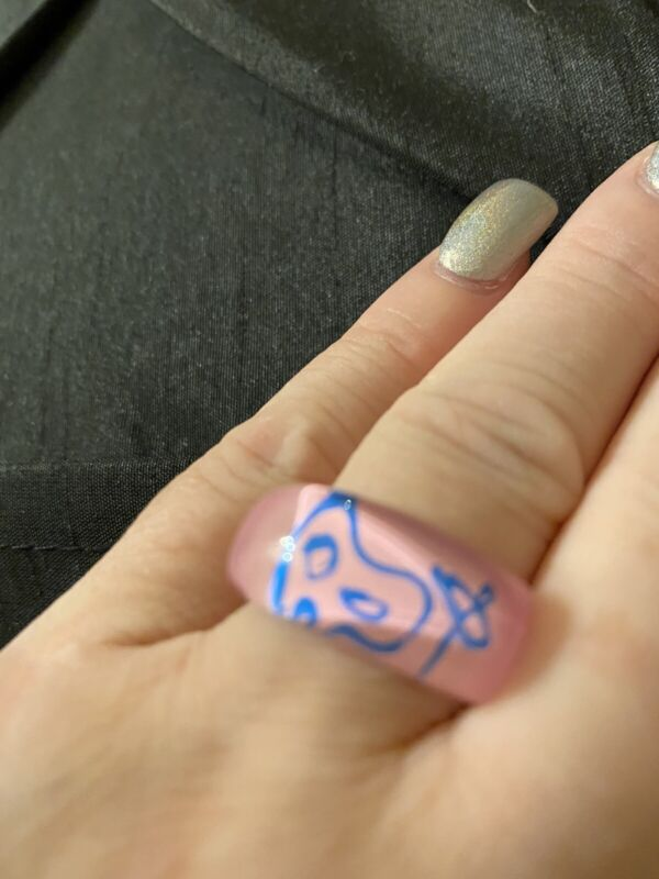 Vintage Lucite Ring Pink With Blue Painters Pallette Size 7