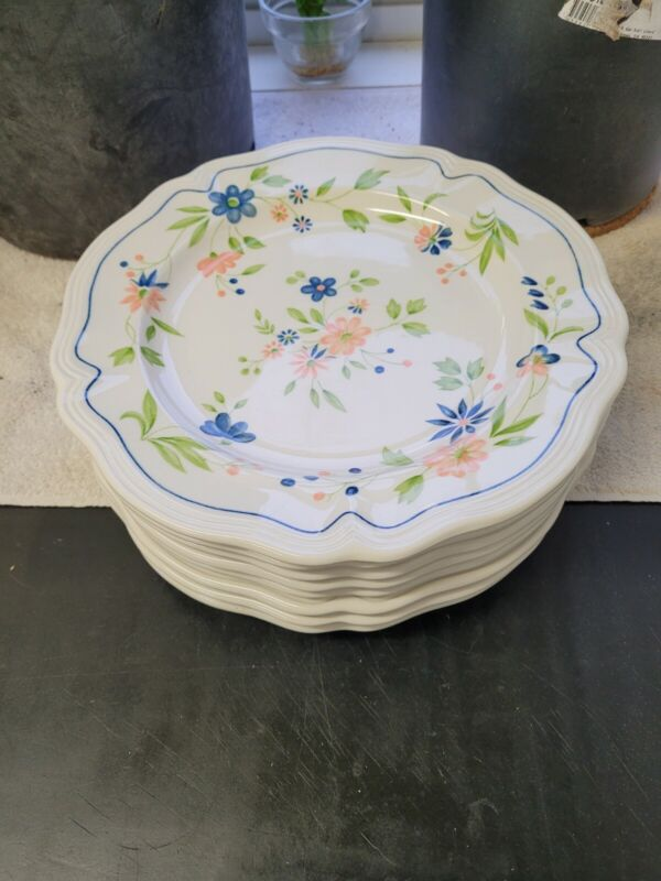 """Set of 8 Sears Country French Ironstone 10.5"""" Dinner Plates Pattern 4453 1-7"""