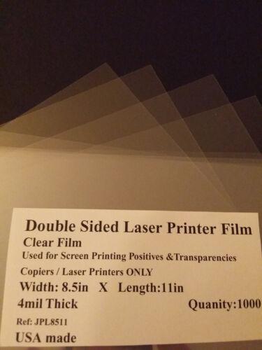 Clear Laser Printer Transparencies Qty: 1000 8-1/2x11 film paper