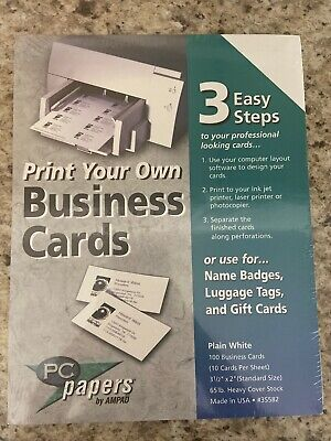 Pc Papers By Ampad Print Your Own Business Cards Pack Of 100 Brand New