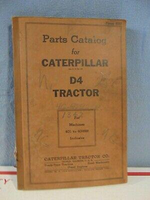 Vintage Caterpillar D4 Tractor Crawler Parts Catalog Original Estate Find