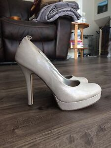 Size 8.5 silver high heels