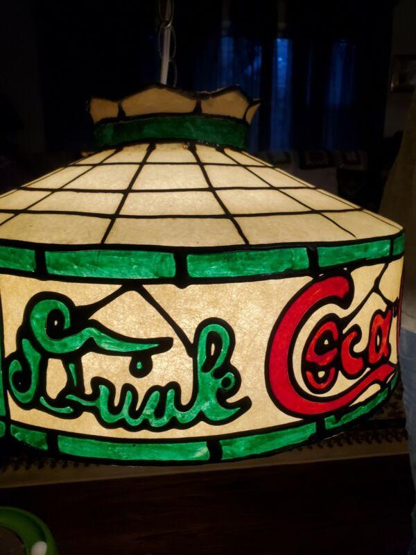 Vintage Coca Cola Coke Tiffany Style  Hanging Lamp Light Works