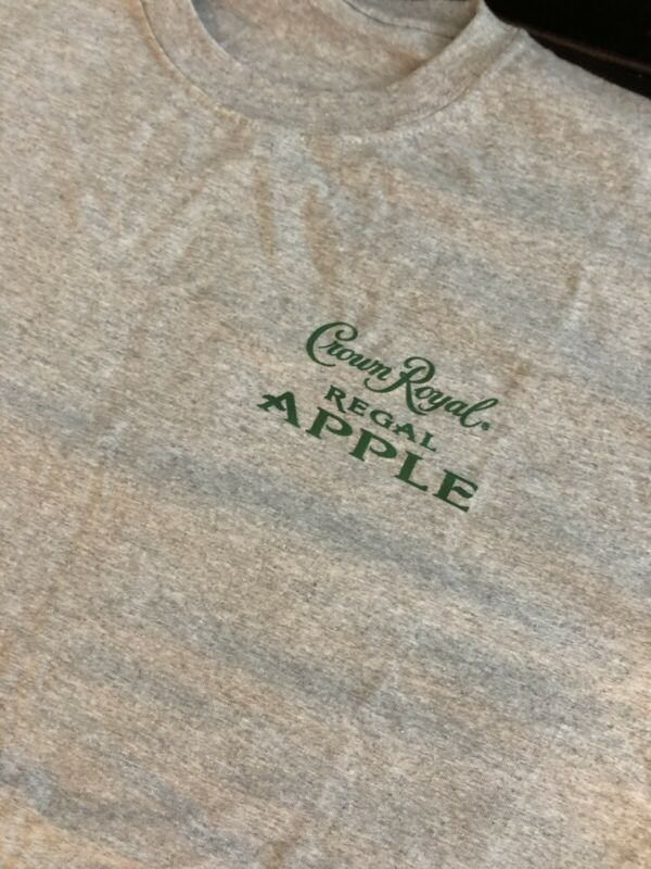 NEW GRAY CROWN ROYAL APPLE CANADA WHISKY BAR BARTENDER TEE T SHIRT SIZE MENS XL