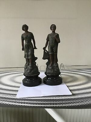 PAIR French Spelter Figurines of a Fisherman and Fisherwoman- PECHEUR & PECHEUSE
