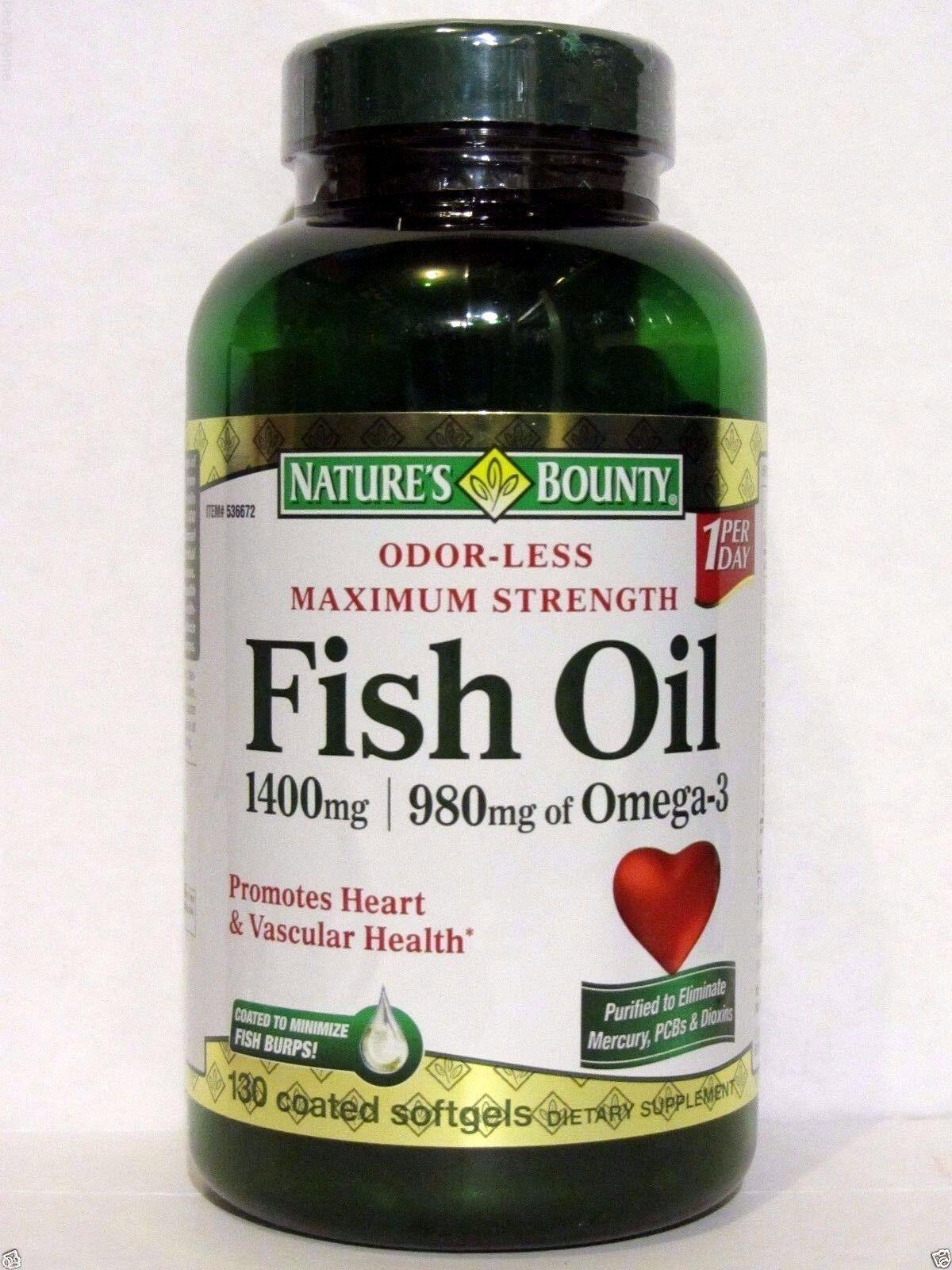 Nature's Bounty Maximum Strength Fish oil 1400mg, 980mg of