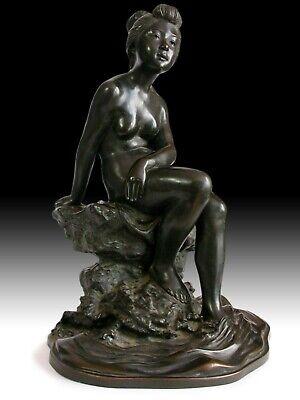Antique Japanese Meiji Nude Bather Girl Okazaki Sessei 雪聲 Bronze Okimono Statue