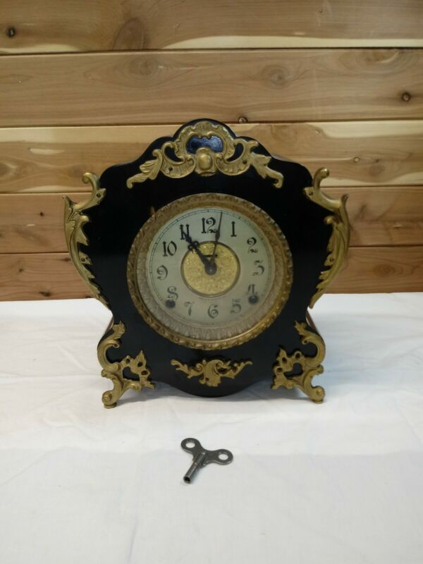 "Antique  E Ingraham Ornate "" CUTE"" Clock Footed Mantle Shelf Works/Key/Pendulum"