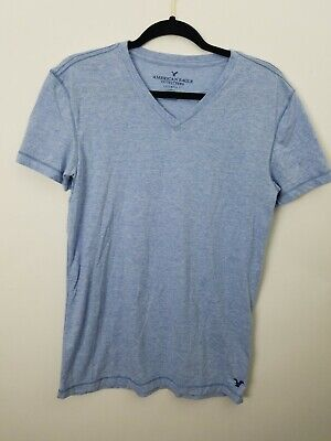 American Eagle Womens T-Shirt Size Small V-Neck Blue Short Sleeve