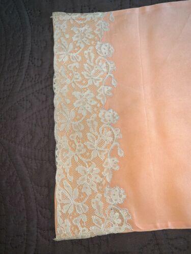Antique Edwardian Alencon Lace Trimmed Coral Silk Boudoir Bolster Pillowcase