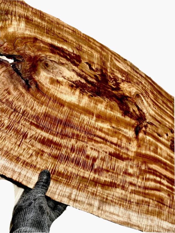"INSANE FLAME Koa Micro-Slab 5/16""x 24""x 61""Table Top Skin Lamella Live edge wood"