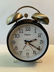 Elgin Twin Bell Analog Alarm Clock, Battery Powered, Silver