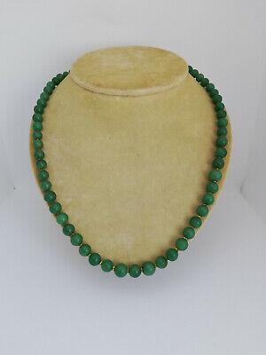 Antique Natural Stone Green Jade Jadeite Beads Necklace