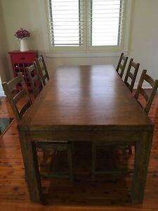 Solid Timber (Mango Tree) Dining Table and 6 chairs - quick sale Pagewood Botany Bay Area Preview