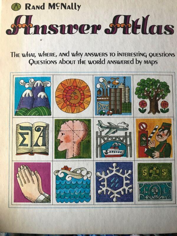 Vintage 1968 Rand McNally Answer Atlas Children's Rare
