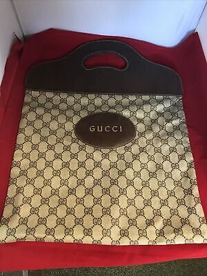Vintage Gucci Tote Bag Canvas With Leather Handle