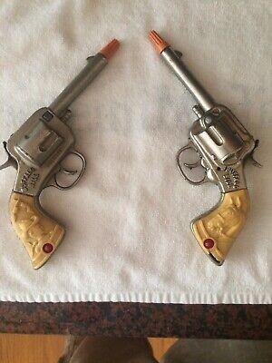 STEVENS BUFFALO BILL NICKEL PLATED CAST IRON CAP GUNS- 1 Set Of Pistols